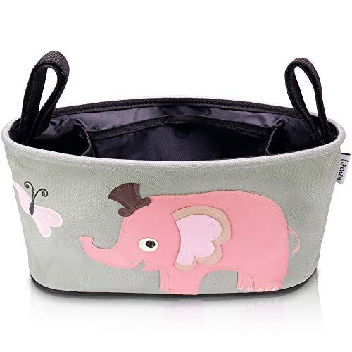 Lifeney Kinderwagen Organizer mit lustigen Tiermotiven I Universeller Buggy Organizer mit verstellbaren Tragehaken I Kinderwagen Zubehör Grau I Tasche für Kinderwagen (Elefant rosa)