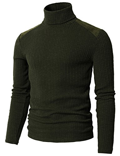 H2H Mens Basic Ribbed Turtleneck Shirts Cotton Thermal Sweater DARKOLIVEGREEN US L/Asia XL (CMTTL099)