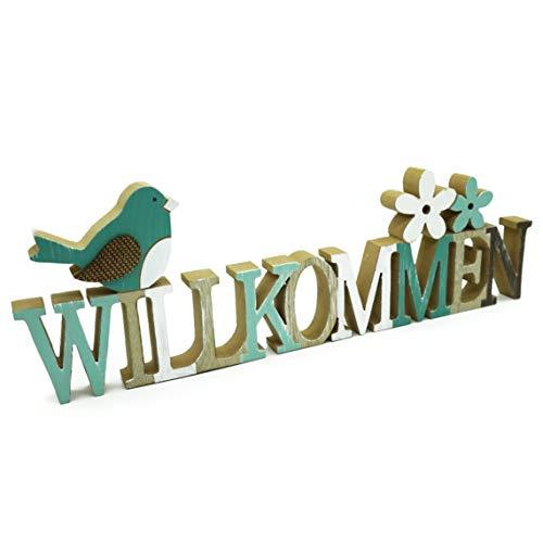 Bambelaa! Willkommen Schild Aus Holz Aufsteller Schriftzug Deko Türschild Garten Haustür Eingangsbereich Welcome