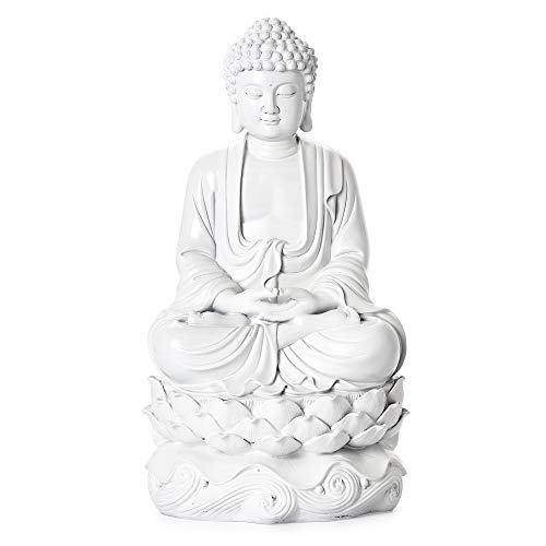 Torre & Tagus 902278B Peaceful Buddha Resin Decor 16-Inch Statue, White