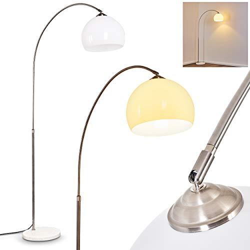 Lámpara de pie Tipitapa de arco metálico, en níquel-mate/blanco, 1x E27, máx. 60 vatios, diseño moderno con base de mármol, altura regulable con interruptor en el cable.