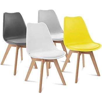 IDMarket Lot de 4 chaises SARA Gris foncé, Gris Clair, Blanc et Jaune