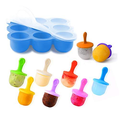 Molde de Silicona Multifuncional Bandeja para Congelar y Almacenar Comida para Bebés y Preparación de Helado de Palo Tapa y palitos incluidos sin BPA