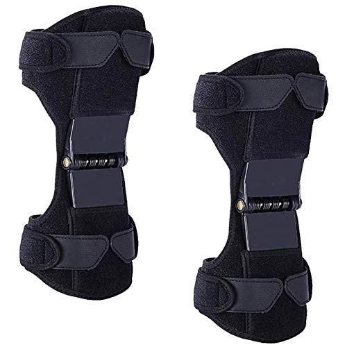 2 Packs Power Knee Brace Joint Support, Power Knee Stabilizer Pads, Protective Gear Booster with Powerful Springs for Men & Women Meniscus Tear, Arthritis, Tendonitis Pain. Adjustable Bi-Directional Straps (Black)