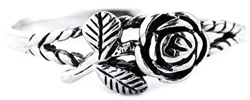 WINDALF Fairy Rosen-Ring IÔNA h: 0.6 cm Zarte Rose Vintage Hochwertiges Silber (Silber, 52 (16.6))