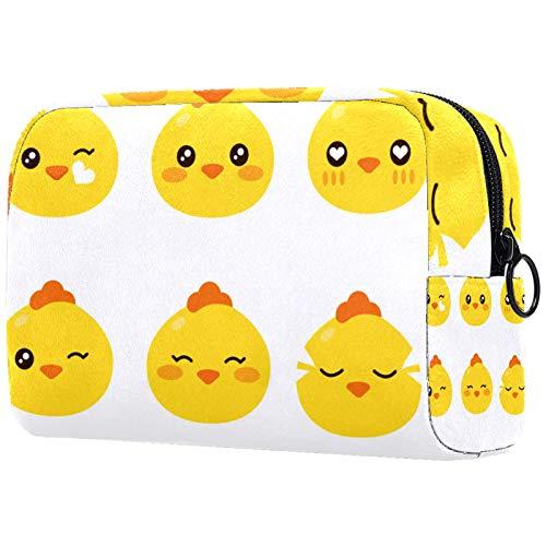 Bolsa de maquillaje para mujer, bolsa organizadora de cosméticos, bolsa con cremallera, diseño de pingüino de dibujos animados con rosa pastel