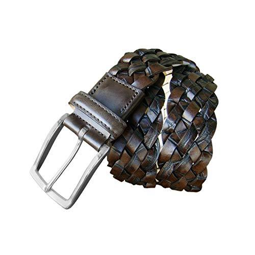 Leyva - Cinturón trenzado de hombre piel en color marrón (105 cm)