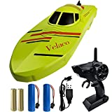Velaco 2.4G RC Boats for Kids & Adults, Remote Control Boats for Ponds, Pools & Lakes with 2 Rechargeable Batteries / 2 Motors / Low Power Prompt, Boat Toys for Boys & Girls Green