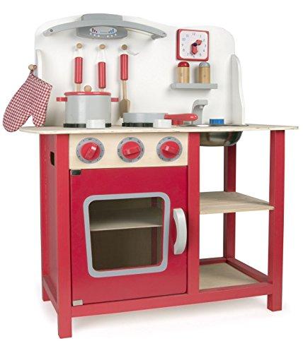 Leomark Classic Spielküche aus Holz - Farbe Rot - Kinderküche mit Zubehör, Holzküchemit Waschbecken, Pfanne, Backofen, Kochtopf, Küchenhelfern, Uhr, Funktionale Bunte Spielzeug, für Mädchen und Jungen, Höhe 75 cm - 6