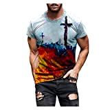 EUCoo Camiseta de manga corta de mezcla de algodón para hombre, cuello redondo, diseño gráfico de fe, moda callejera, ligera, azul, 3XL