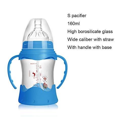 YLL Biberón 160 ml 240 ml Botella de Cristal de Calibre Ancho con Paja de Silicona Chupete con la manija y la Base (Size : 160ml)