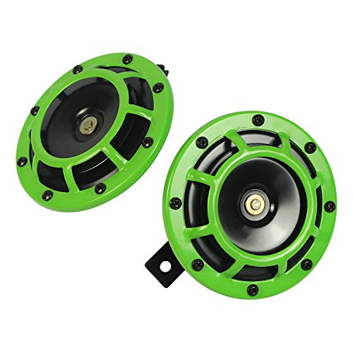 heavy duty CARMOCAR Eletric Car Horn Kit 12V 135db Super Loud Tweeter and Bass Metal Double Horn Kit with Brackets for Cars Trucks SUVs Vans Vans Motorcycles Off-Road Boats(green)