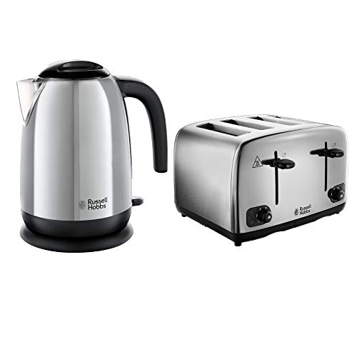 Russell Hobbs Adventure Brushed and Polished Stainless Steel Four Slice Toaster with Polished Kettle Bundle