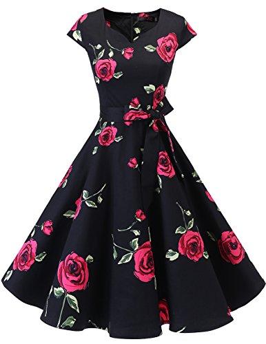 DRESSTELLS A-Line Women 1940s Swing Dress Polka Dots Red Flower M