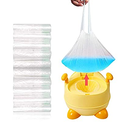 100 Pack Portable Travel Universal Potty Chair Liners with Drawstring Training Toilet Seat Potty Bags Cleaning Bag for Kids Toddlers Adults Pets Outdoors (44 x 24 cm) from WooWan