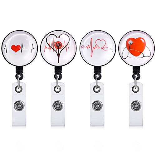 FUREEY Badge Holder Reels Retractable , 4 Pack Nurse Badge Reel with Alligator Clip, ID/Name Card Holder for Nursing, Doctors and Schools Student,Reinforced Strap, Easy Retracting 24 inch Nylon Cord