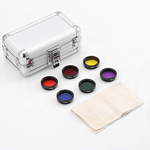Pudincoco 1,25'31,7 mm Okular Farbfilter-Set & Mondfilter Zubehör für Teleskop-Set mit Aluminiumgehäuse (schwarz)