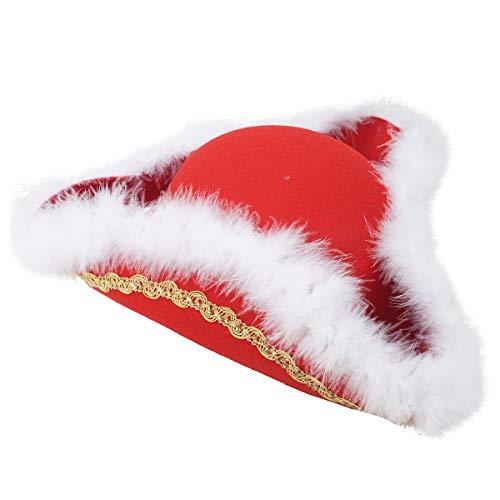 FRIES Funkenmarie Hut | Dreispitz in rot mit Marabou | Hut für Kinder & Erwachsene | Hutgröße 53