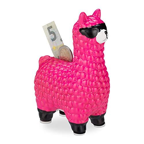 Relaxdays Lama Spardose, mit Sonnenbrille, Geschenkidee & Deko, Alpaka Sparbüchse aus Keramik, HBT 15,5 x 11 x 6cm, pink