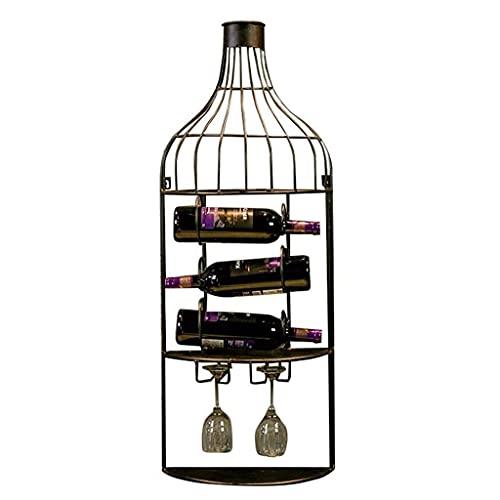 BGHDIDDDDD Novedad Estante para Vino Estantes para Vino Estante Organizador de Vino Estante para Vino Porta Botellas Hierro Estilo Industrial Retro Decoración de Barra Botella de Vino Estante para Co