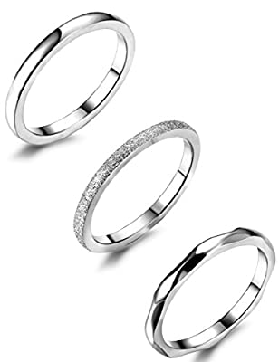 JOERICA 3Pcs 2mm Stainless Steel Women's Stackable Eternity Ring Band Engagement Wedding Ring Set 4-9
