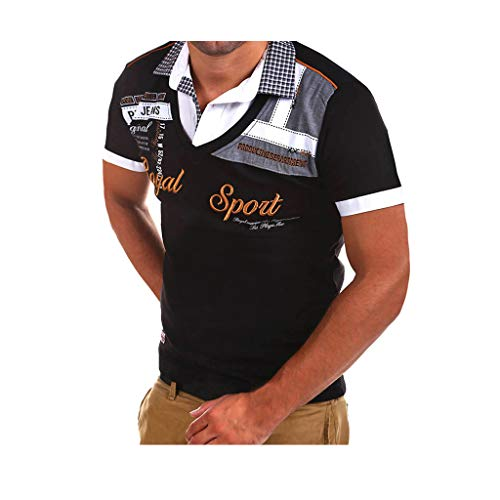 MNRIUOCII Polohemd Besticken Poloshirt Herren Mit Print, MäNner T-Shirt Kurzarm Polo Hemd Basic Shirt Freizeit Polohemd Kurzarm Hemd Hemden Sweatshirt Kurzarmshirt