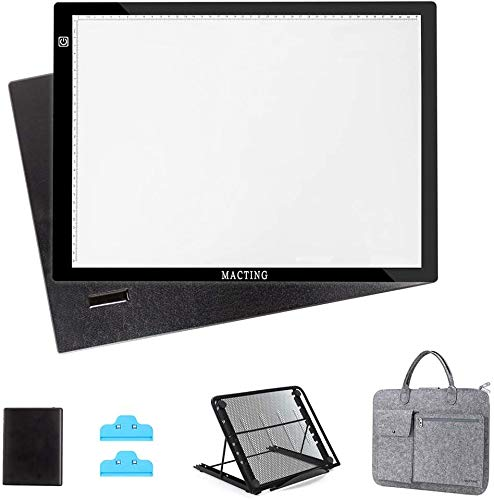 A3 LED Light Box, MACTING Tracing Light Box with Stand, Carry Bag, USB Cable Adjustable Light Board...