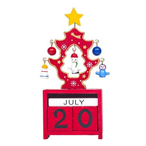 Home Office Kalender Kerst Ornamenten Hout Xmas Kalender Desktop Decoratie briefpapier door BouT Rood