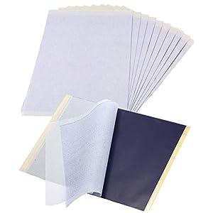 Papel de carbón de 25 hojas - papel de transferencia de tatuajes, papel de grafito, papel de rastreo de tatuajes, tatuaje temporal A4, papel de copia tatuajes, plantilla, papel de impresora
