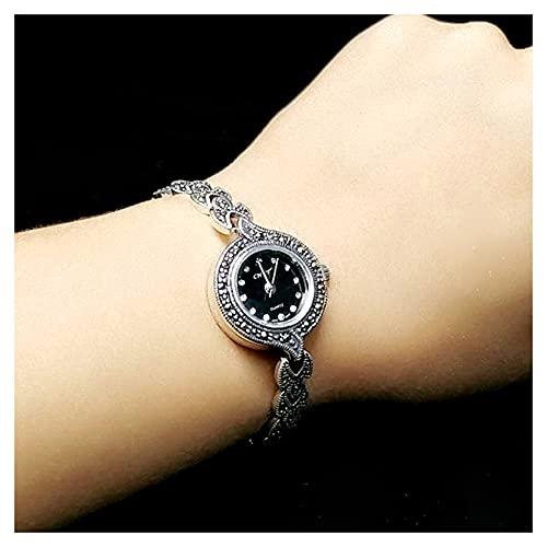 CHXISHOP Reloj de Pulsera de Mujer 925 Vintage Plata Joyería Personalidad Pulsera Moda Antigua Reloj de Cuarzo Femenino Estilo étnico Reloj