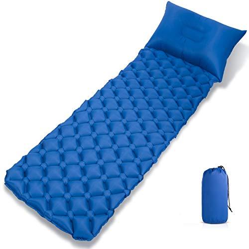Corium Direct Aufblasbare Schlafmatte mit Kopfkissen, Ultraleicht Kompakte Kleines Packmaß Feuchtigkeitsfest Camping Isomatte für Outdoor Reisen Wandern Strand Zelt
