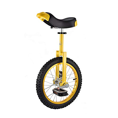 QWEASDF 16', 18' Unicycle, Classic Skid-Proof Wheel Bike Mountain Tire Cycling Self Balancing Exercise with Color Alloy Rim, Outdoor Sports Fitness Exercise,Yellow,16'