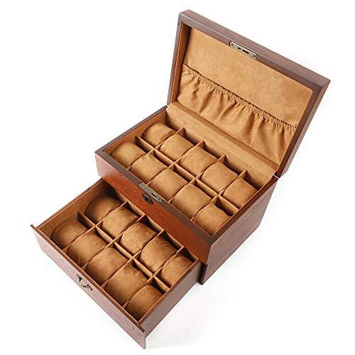 Massivholzuhr Display Box 2-lagiger Schmuck Aufbewahrungsbox mit Oberlicht / ohne Fenster für Ringe, Ohrringe, Uhr, Armbänder und Halskette (ohne Fenster)
