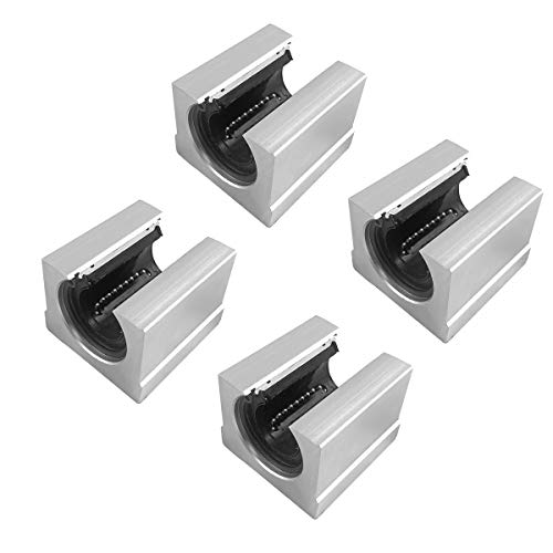 QWORK 4 PCS SBR20UU Aluminum Slide Block 20mm Linear Bearing Motion Ball Slide Units for 20mm Linear Guide Rail