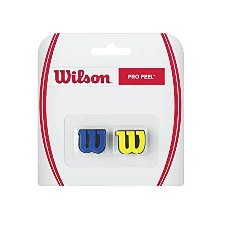 Wilson Logo-Vibrationsdämpfer für Tennisschläger, Pro Feel, 2er Pack, gelb/blau, WRZ537700