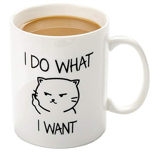 Cat Mug I Do What I Want- 11 OZ ceramic coffee mug - Unique Gift Idea for Cat Lovers, Perfect Birthday Gifts for Women Rude Sarcastic Cat Meme Cup