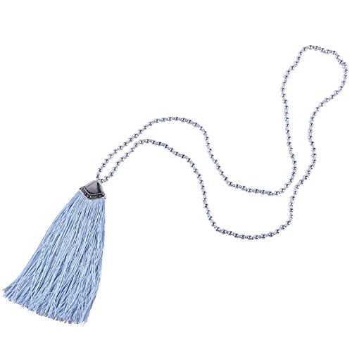 KELITCH Collares Largos Con Borlas Collares Con Cuentas De Plata Hechos A Mano Collares Con Colgante De Moda (Azul)