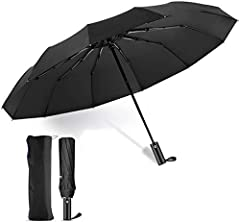 ☂【12 ribs windproof umbrella】After being upgraded, our umbrella is composed of 12 thickened black steel ribs, and most folding umbrellas windproof are composed of 6 or 8 aluminum ribs. The upgraded steel umbrella frame has strong windproof resistance...