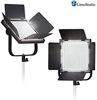 LimoStudio 2-Pack LED 600 Photographic Lighting Panel with Digital Display Screen, Photo Studio Barndoor Light, Continuous Video Light, Brightness Control Available, AGG2382
