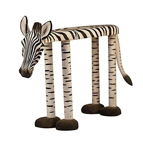 Zebra Poggiapiedi Divano Sgabello Moderno Sgabello Basso Creativo, Artigianato di Intaglio del Legno Animale dei Cartoni Animati, Ornamenti per La Decorazione della Casa