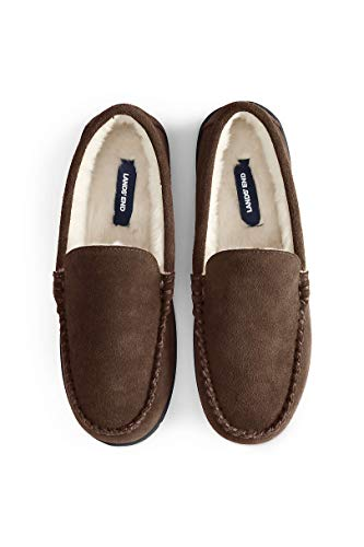 Lands' End Men's Suede Leather Moccasin Slippers Indoor and Outdoor Shoes Dark Mahogany
