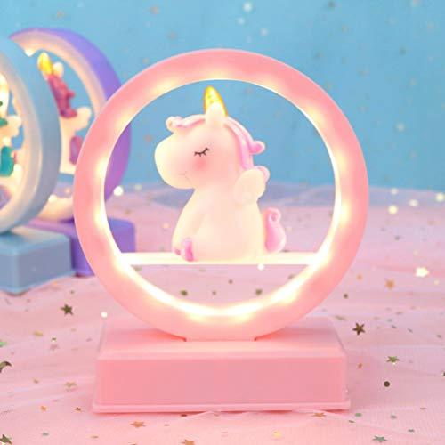 unicornio mesa luz dormitorio decoración música lámpara de noche regalo de cumpleaños para niña sin batería incluida- rosa