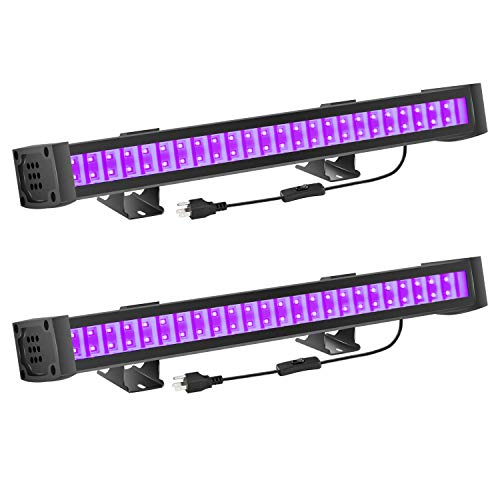 FAISHILAN 2 Pack UV LED Black Light, 24W Blacklight Bar with 5Ft US Plug & Switch, Glow in The Dark Party Supplies for Stage Lighting, Halloween, Body Paint, Fluorescent Poster