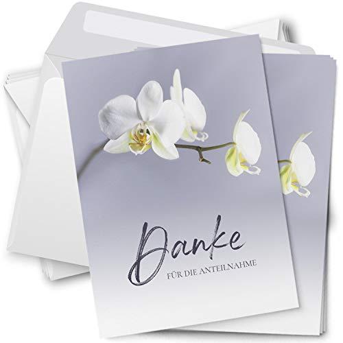 Trauer Danksagungskarten mit Umschlag   Motiv: Orchidee weiß, 15 Stück   Dankeskarten DIN A6 Set   Trauerkarten Danksagung Danke sagen
