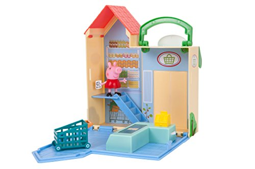 Jazwares 96581 - Peppa Wutz kleiner Lebensmittelladen, Aufklappbares Spielset mit Griff, Spielhaus Set mit 1 Spielfigur & Zubehör mit Funktion, Original Peppa Pig Spielzeug Haus für Kinder ab 2 Jahren