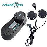 FreedConn Motorrad Intercom Bluetooth Headsets, T-COM SC 800M Motorradhelm Interphone Gegensprechanlage Kommunikationssysteme bis zu 3 Benutzer, LCD-Bildschirm, GPS, FM Radio