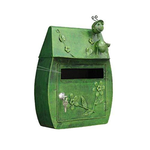 DNSJB Kreativer Schmiedeeisen-Briefkasten, Wand-hängender grüner wasserdichter Briefkasten im Freien