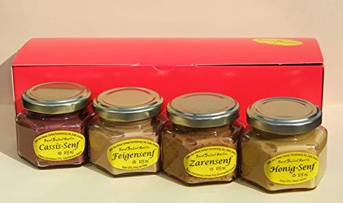 Geschenkset mit 4 Senfen: Cassis-Senf, Feigensenf, Zarensenf, Honigsenf: Geschenkkorb Präsent