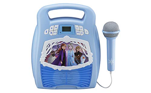 eKids Frozen 2 Bluetooth Portable MP3 Karaoke Machine Player with Light Show and Recording Feature - Store Hours of Music with Built in Memory Sing Along Using The Real Working Microphone,