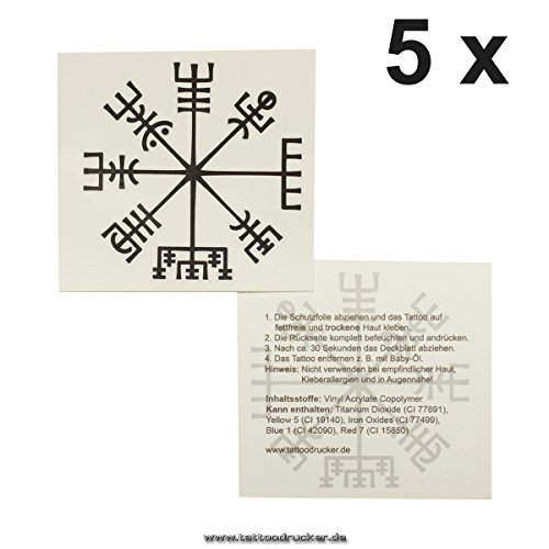 5 x Vikinger Kompass Tattoo - Vegvísir - Keltischer Kompass - mystische Schutzsymbol (5)